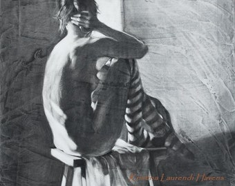 "Nude Female Figure wearing Striped Tights - ""The Center Ring"" - Fine Art Reproduction of a Charcoal Drawing"