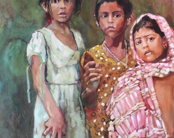 Original Oil Painting of Children of Bangladesh Portrait Art