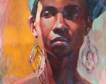 Oil Portrait Art of African American Woman wearing Turquoise Head Scarf