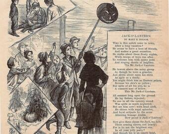 1910s Poem, Jack O Lantern Poem Antique Spooky Halloween