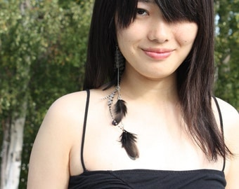 Black and White Clip In Feather Hair Extension, ON SALE 20% OFF