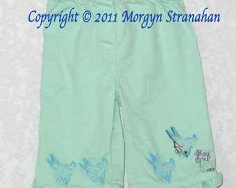 Blue Bird - OOAK hand printed&painted Upcycled Children Pants Size 6-8 Mos