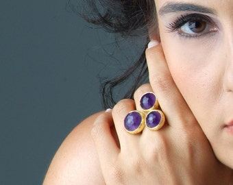 Purple Amethyst Balls Ring