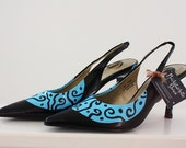 Baby Blue Swirl, Hand Painted Womens Heels Size 6.5, ON SALE 20% OFF