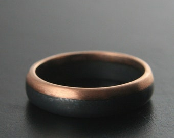 14K Rose Gold and Black Silver Band--Two Tone Ring--Bimetal Band--Rose Gold Ring--Oxidized Silver Band--Rose Gold and Black Ring--Men's Ring