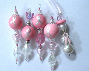 Awareness Ornaments, Breast Cancer Awareness, set of 5 ornaments, design 1