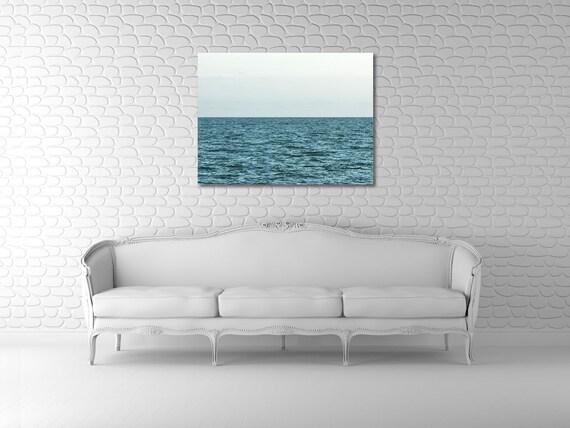 Large Ocean Art - Peaceful Minimalist Teal Ocean on 30x40 Gallery Wrapped Canvas - Uninterrupted 2 - Original Fine Art Photograph