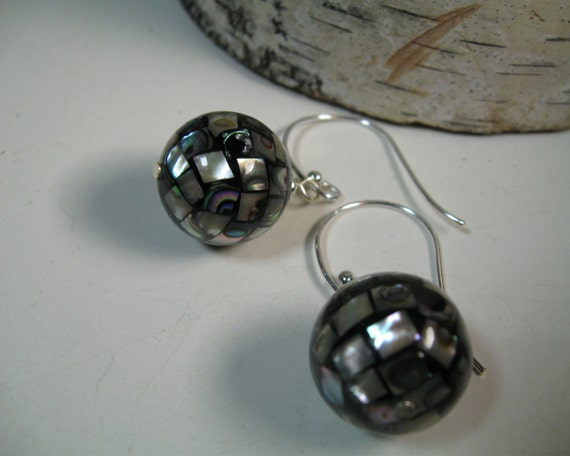 Black Abalone Earrings, Large Sterling Silver Wires by SusanHeleneDesigns