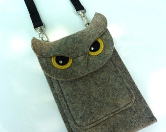Deluxe owl case for iPhone 7 Plus, 7, 6 Plus, 6S Plus, 6, 6S, SE, 5, 5S and 5C - Cell phone purse - Felt owl sleeve - Shoulder bag