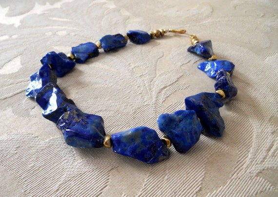 ON SALE Pieces of the Moon lapis statement necklace