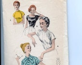 1950s Butterick Easy Pattern 7733 Misses Cap Sleeve Blouse with Jewel, Bow Tie, Mandarin, or Deep Squared Neckline Variations Sz 12 30 Bust