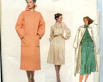 Vintage 1970s Vogue Paris Original Sewing Pattern 1837 Lined Coat & Modest Blouson Dress by Christian Dior UNCUT, OFF Sz 12 Bust 34