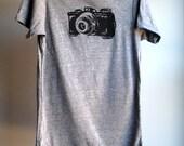 Camera T-Shirt,  Eco-Heather Grey with Black Print -  Extra, Extra Large