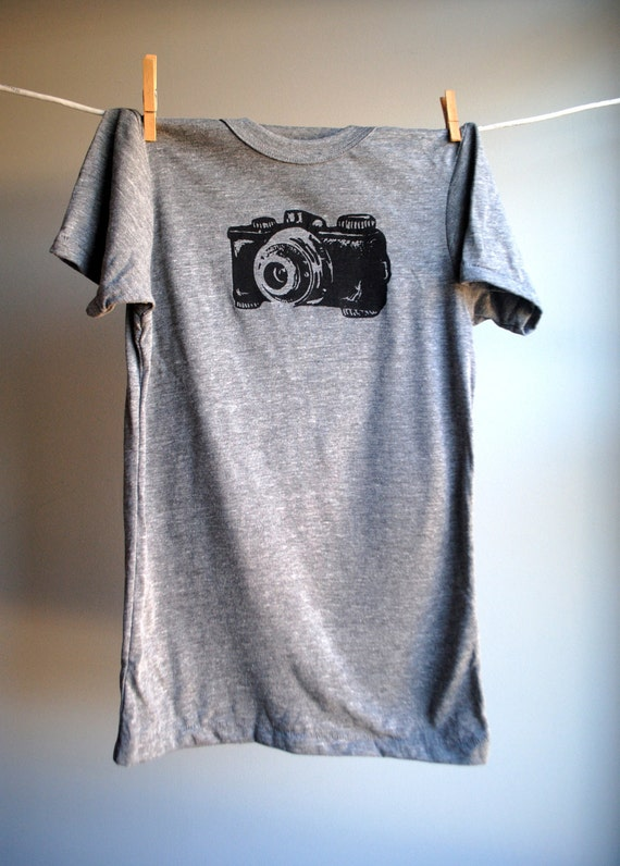 Camera T-Shirt,  Eco-Heather Grey with Black Print -  Extra, Extra Large