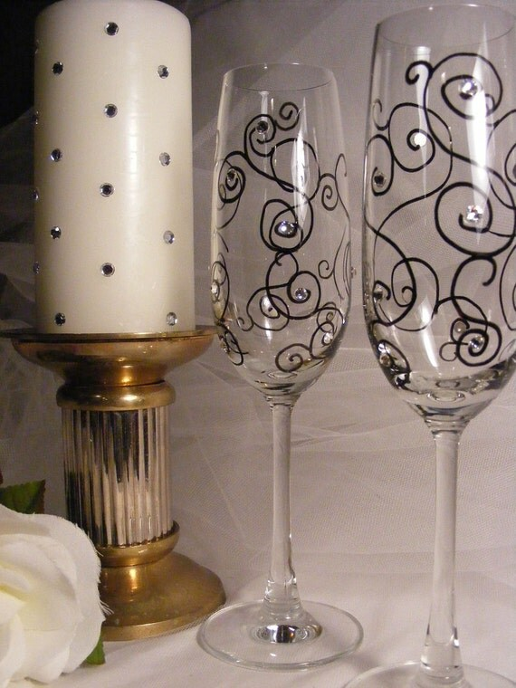 elegant painted wedding toasting champagne flutes with Swarovski crystal rhinestones for wedding, anniversary, birthday