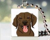 Scrabble tile pendant charm of brown Labrador