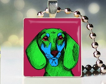 Scrabble tile of Andy Warhol style Dachsund