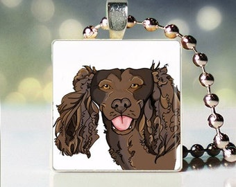 Scrabble tile pendant charm of American Water Spaniel Dogicature