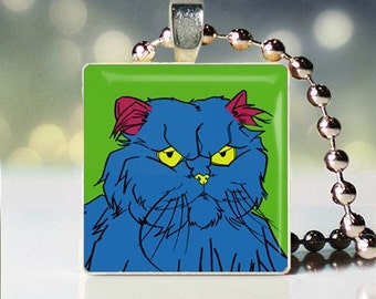Scrabble tile pendant of Andy Warhol style Cameo Persian