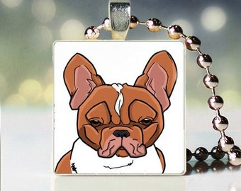 Scrabble tile pendant charm of fawn French Bulldog Dogicature