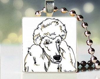Scrabble tile pendant charm of white Poodle