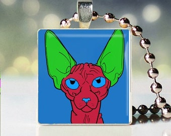 Scrabble tile pendant charm of Andy Warhol style Sphynx