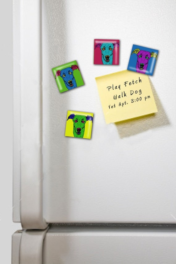 Greyhound fun and funky one inch glass tile magnet set