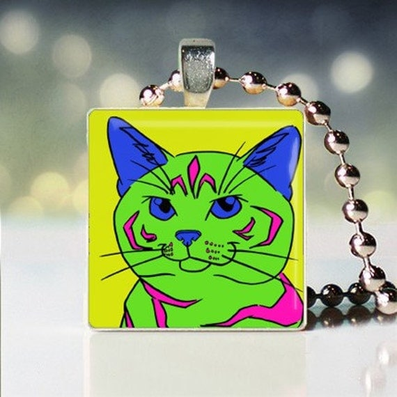 Scrabble tile pendant of Andy Warhol style Silver Patched Tabby