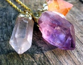RESERVED Triple Crystal Necklace. Gold Dipped Amethyst Citrine & Quartz. Beautiful Bohemian Gift Idea. Ready to Ship