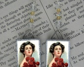 Red Rose Victorian fashion beaded Earrings