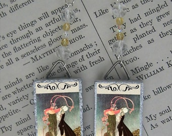 Flamingo Croquet fairy tale beaded earrings