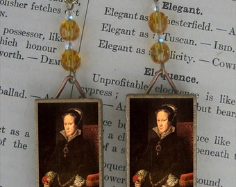 Bloody Queen MARY TUDOR daughter to Henry VIII beaded earrings