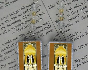 Love Birds art deco beaded Earrings