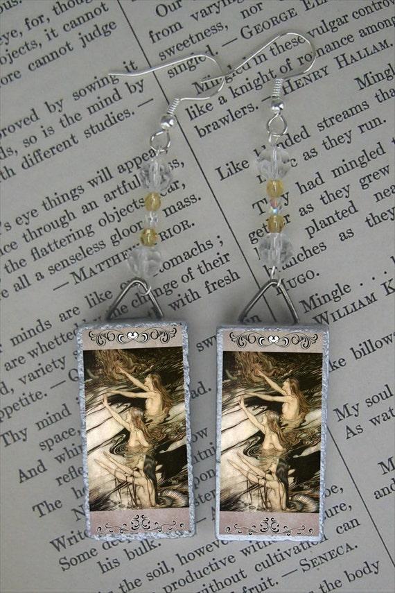 Arthur Rackham's Mermaid - DRYADS Fairy Tale Illustration BEADED EARRINGS