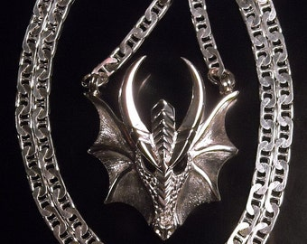 Finned dragon mask pendant - Sterling silver - 3/100