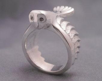 Barn owl ring - sterling silver