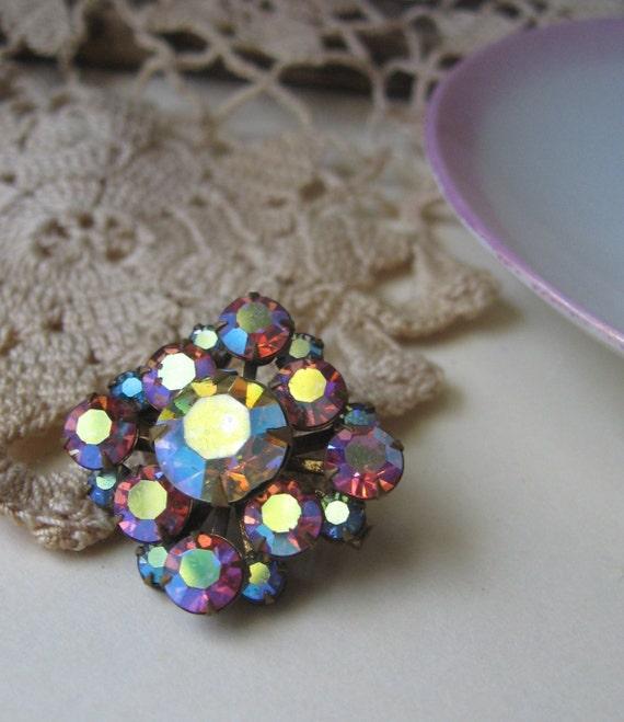 antique aurora borealis brooch