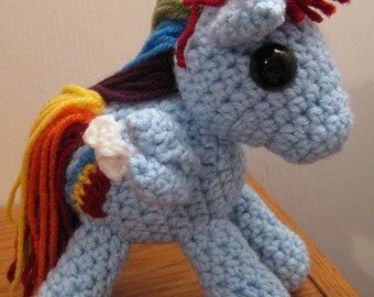 Rainbow Dash with Cutie Mark - My Little Pony Friendship is Magic Amigurumi Crocheted MLP Plush Doll
