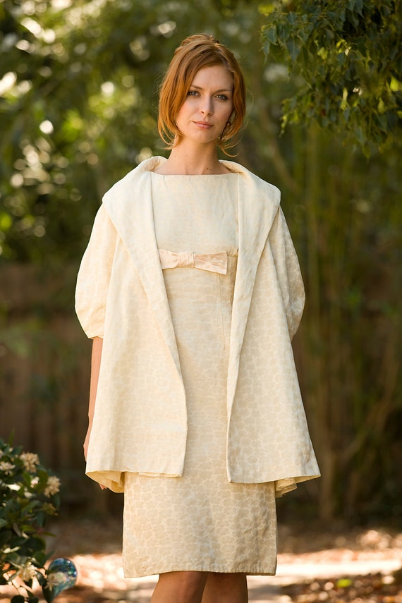 On hold for Atriazi / CREAM  jacquard 1960's shift dress with matching cocoon coat  WEDDING