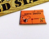NORTH DAKOTA Brooch - Lapel Pin - Pendant / Orange Wood Brooch, Upcycled Vintage 1961 Wood Puzzle Piece, Wearable History Pin, Gift Under 20