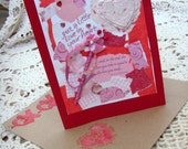 Thoughts of Love Card / No. 8 / Pink - Red - White / Handmade Papers / Ribbons - Vellum - Jewels / Mulltiple Adornments / Original / OOAK