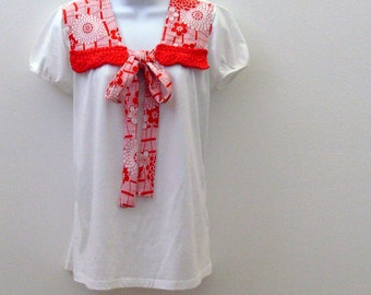 Red & White Nautical Tunic / White Cotton Top with Red Floral Nautical Trim and Red Crochet Trim / Size Large / OOAK Gift Under 35