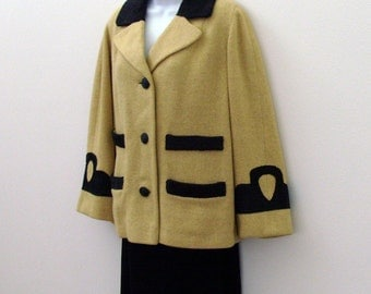 Mustard Yellow Swing Jacket with Black Velvet Trim / Vintage 1940s Stroock Wool Fashion - Upcycled in 1989 / Size Large / OOAK Gift Under 90