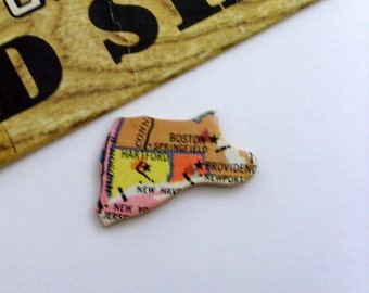 Massachusetts, Connecticut & Rhode Island Brooch - Lapel Pin / Upcycled Vintage 1961 Wood Piece / Wearable History Timeless Gift Under 25
