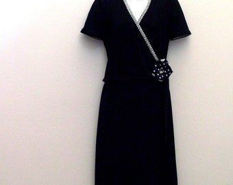 Black Day Dress / Upcycled Vintage Fashion / Black Dress, Black & White Jacket / Black Polka Dots Brooch / Size 4 / OOAK