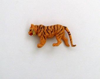 Tiger Brooch - Pin / OOAK Fun Gift Under 20 / Upcycled Vintage Tan, Orange & Black 3D Toy