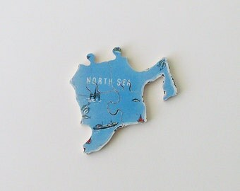 NORTH SEA Brooch - Lapel Pin - Pendant / Upcycled 1960s Wood Puzzle Piece / Marine Blue Wood Brooch / Wearable History Pin / Gift Under 25