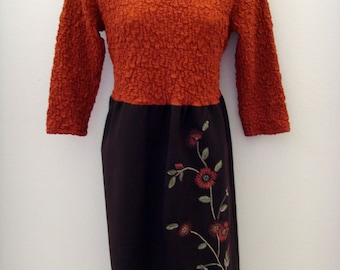 Embroidered Autumn Dress / Harvest - Pumpkin Orange - Chocolate Brown / Velvet Brooch / Unique Upcycled OOAK Fall Fashion / Gift Under 100