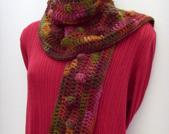 Lola Cola Scarf / Brown - Red - Gold - Green Bubbles / Autumn Leaf - Jewel Tone Colors Scarf / Crochet Fashion / OOAK / Gift Under 50