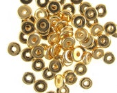 Greek Ceramic 8mm Disk Beads Gold-plated 16071 (20) Bright and Shiny